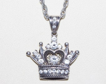 CROWN PENDANT NECKLACE - Silver Tone with Crystals - T267