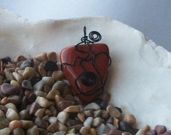 Wire Wrapped Blood Orange Stone Pendant