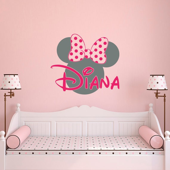 girl name wall decal minnie mouse wall decals wall decals. Black Bedroom Furniture Sets. Home Design Ideas