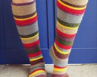 Striped Knee Socks - striped socks - knit socks - crochet socks - double knit socks - crochet knit knee socks - womens socks - adult socks