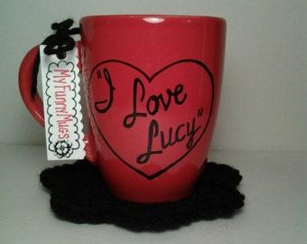 I Love Lucy Mug - Retro Mug - I Love Lucy Gift - TV Show - Lucille Ball - Pinup Mug - Hand Painted - Custom Mug - Gift for Her - I <3 Lucy