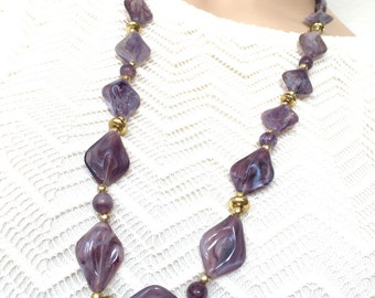 Beaded Purple Necklace - Art Nouveau Mid Century Long Rope Necklace /  Amethyst Lavender Jewelry