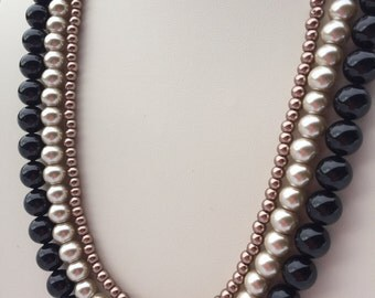 Black Brown Beige Glass Pearl Necklace