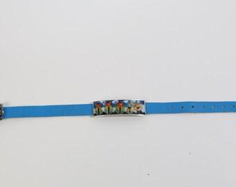 Enamel bracelet with leather band