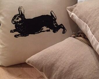 Rabbit and Linen Accent Pillow