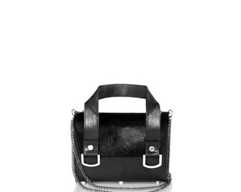 Black & Silver Leather Tote