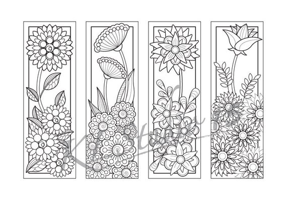 Blooming flowers Coloring Bookmarks Page Instant Download