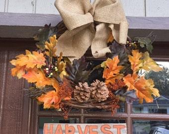 Fall Harvest Unique Handmade Wreath
