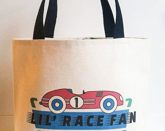 Race car bag, Racing Birthday, Carry along bag,Boy's tote bag, play date bag, Back to School tote