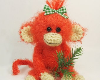 Fire monkey, hand knitted toy