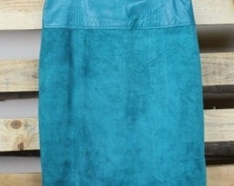 Turquoise Suede Skirt