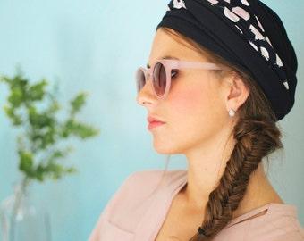 Turban bleu, turban chimio, turban mode, turban cancer,  turban à nouer soi-même, tuban femme, bonnet turban, bonnet chimio, chapeau turban