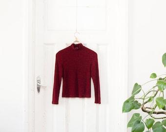 Vintage Mock Neck Top 90s Turtleneck Top Elastic Burgundy Top High Neck Scarlet Pullover Womens Small Dark Vine Red Top Shiny Sparkly Top S