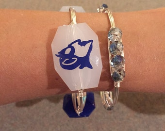 Two (2) Wire Bangles, Flat Rate Shipping, Silver Bangles, Duke University, Duke, Blue Devils, Stackable Bracelets, Handmade, Game Day