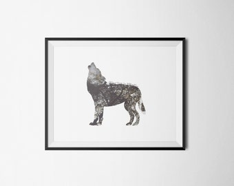 Animal Poster print - All good things are wild and free - Double Exposure Wolf