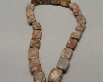 "Redline Marble Stone Rectangle Bead - 18x15mm - 15"" long strand - Free Shipping"