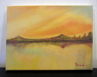 oil painting , rectangular , horizontal, lake, reflection , painting , art , modern, design, painting , canvas oil painting , home decor