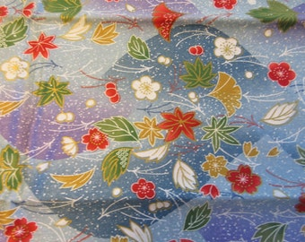 Japanese Floral Screen Print - Quilt/Craft Fabric - Vintage - 1/2 Yd
