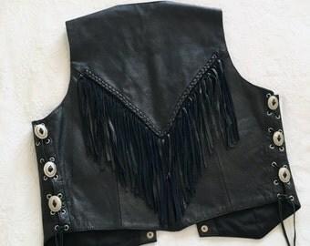 Vintage Black Leather Navajo Southwestern Fringe Biker Vest - FREE SHIPPING