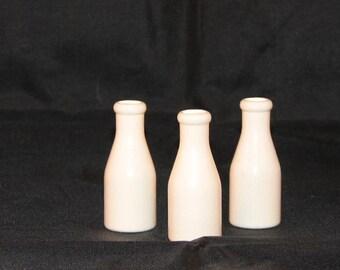 Set of 3 Miniature Wood Milk Bottles 2 Inches White