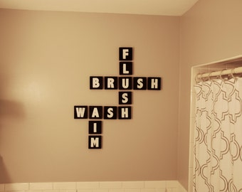 Bathroom Decor; Bathroom Scrabble Blocks; Crossword Blocks; Flush, Brush, Wash, Aim Wood Blocks; Scrabble Words;Bathroom Humor;personalized