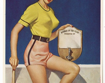Vintage D'ancona 1940s Art Deco Baseball Queen Titled Rookie of the Year Pin-Up Print