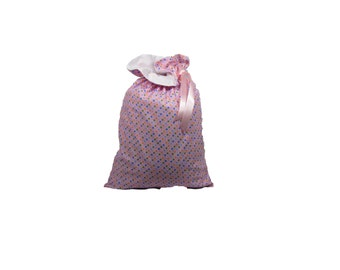 Large Pastel Pink with Stars Handmade Reusable Fully Lined Drawstring Cloth Gift Bag