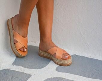 Espadrille platform leather sandals