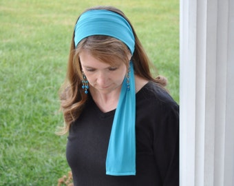 Women's Turquoise, Ocean Blue Stretch Hair Wrap, Headband, Head scarf, Hair Tie, Headcovering, Head Covering, handmade gift, headscarf