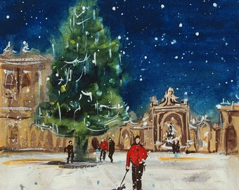 Christmas tree in a French city at night, original painting, snow falls on night blue sky, pedestrian and dog ,Christmas gift