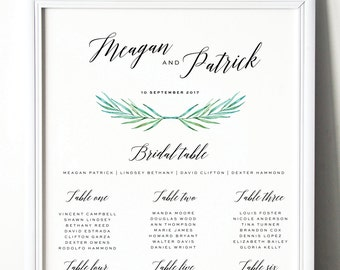 WEDDING TABLE SEATING Chart, Printable, Custom Made, Calligraphy, Green Leaves, New by Paradise Invitations
