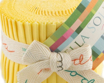 "Bella Solids - Jr Jelly Roll - Moda - (20) 2.5"" Strips - Yellow # 23"