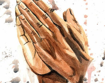 Praying Hands Watercolor Print