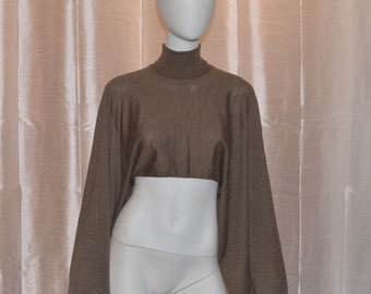 NWT Hermes Cashmere Silk Blend Knit Turtleneck Cropped Sweater Top