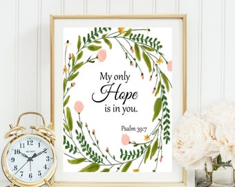 My Only Hope Is In You Psalm Verse Quote Print Religious Christian Wall Art Decor