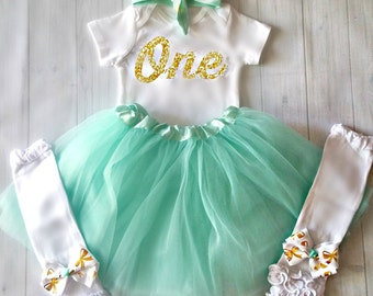 1st Birthday Girl Outfit, Mint and Gold Birthday Outfit, First Birthday Shirt, Cake Smash Outfit Girl, 20 Glitter Colors To Choose From!