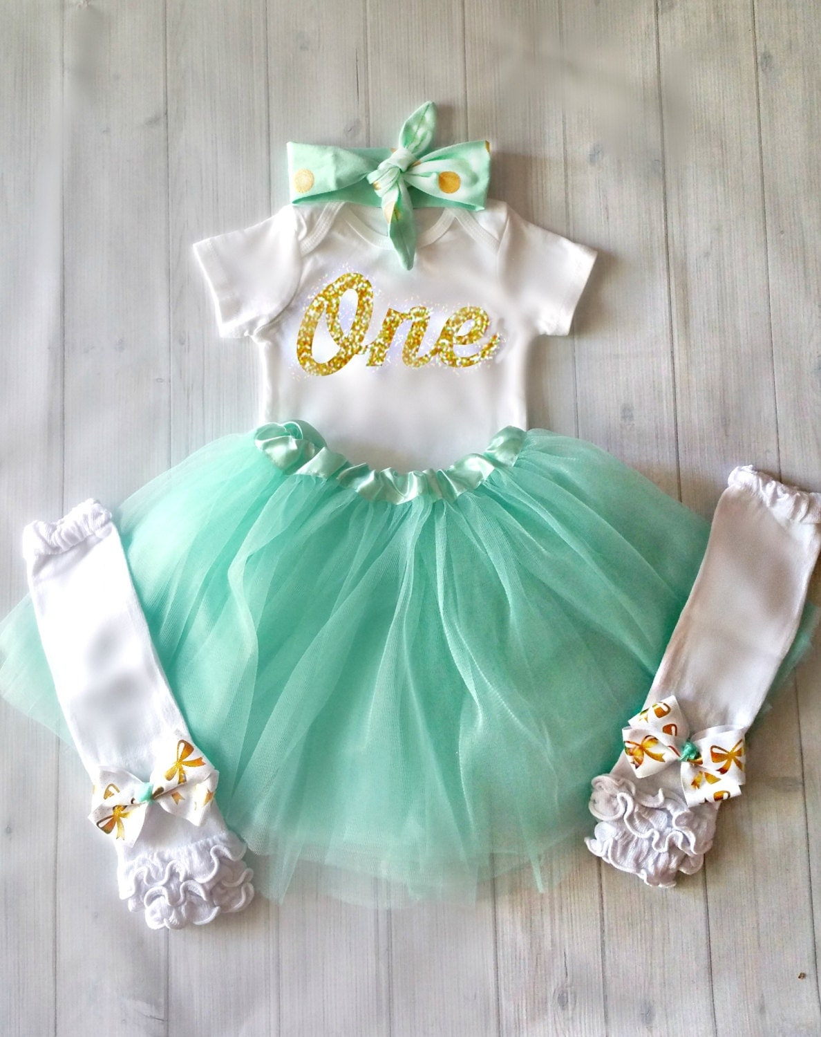 1st birthday girl outfit mint and gold birthday outfit first