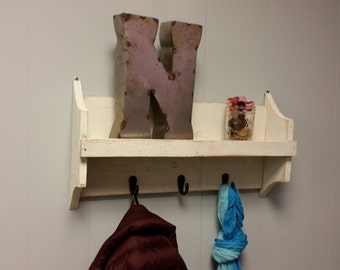 Wood Wall Shelf w/ Hooks
