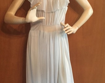 1940s Vintage Pale Blue Negligee ~Slip Dress ~ Full length Lingerie