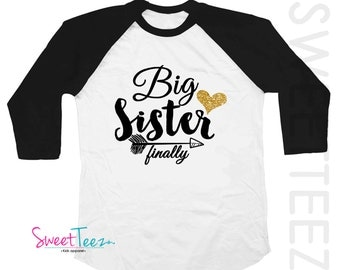 Big Sister Shirt Glitter Heart Arrow Sparkly Girl Gold  Shirt Tribal Pink Raglan 3/4th Sleeve Shirt Funny Toddler Youth Shirt Big Sister Top