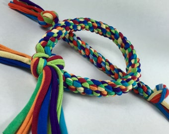 Rainbow Multicolor Mix Upcycled T-shirt Braided Rope Dog Toy