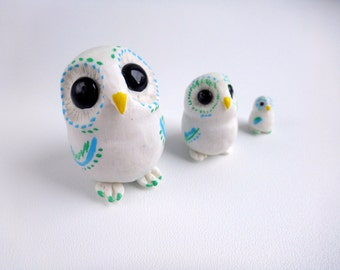 Polymer clay animal totem owl figurine