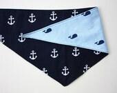 Blue Anchor Whale Reversible Tie On Dog Bandana