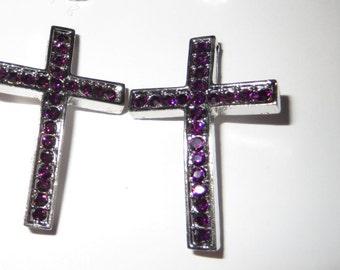 Purple Rhinestone Silver Plated Crosses 24 mm