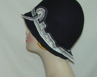 Black Vintage Gatsby handmade Asymmetrical cloche Downton Abbey hat