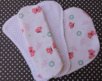 Choose Your Combo, Reusable Panty Liners, 100% Cotton Flannel, 4 Styles, Butterflies and Polka Dots, Winged or Wingless
