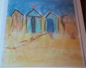 Greetings card - Beach Hut (blank for your own message)
