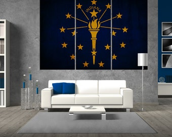 State of Indiana flag canvas Print wall art, flag of  Indiana canvas, large flag canvas print giclee extra large wall art t330