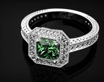 White Gold Emerald Ring Emerald Engagement Ring White Gold Ring Emerald Ring Unique Engagement Ring Emerald in White Gold