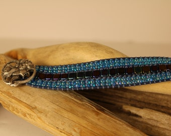 Cuff Wrap Bracelet with shades dark blue with caribbean blue seed beads.  Beautiful metal button.